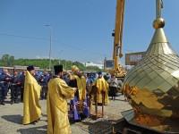 Установка купола и креста на храм в честь прп. Сергия Радонежского