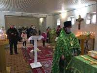 Первая Литургия в строящемся храме святой блаженной Матроны Московской
