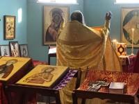 Первая Божественная литургия в строящемся храме мученика Трифона
