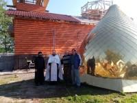 На храм Богоявления села Мильково установлены купола с крестами
